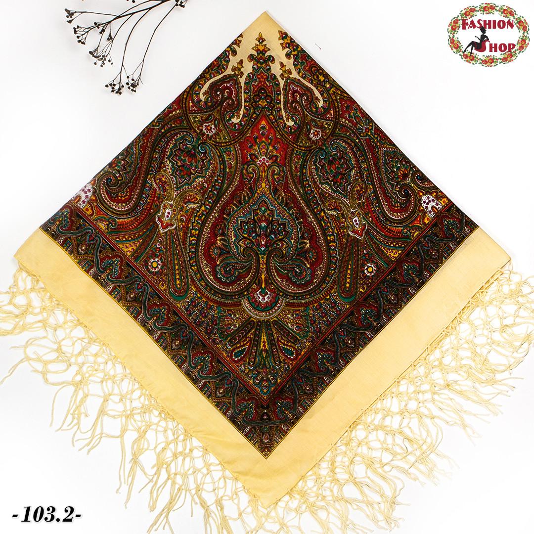 Украинский кремовый платок Колокол