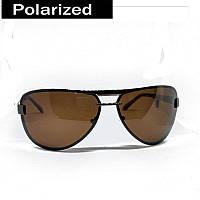 Поляризационные солнцезащитные мужские  очки (капля), коричневые