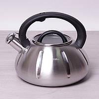 Чайник Kamille 3л из нержавеющей стали со свистком и стеклянной крышкой