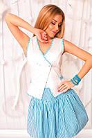 Женский костюм Жилет и юбка  полоска голубая