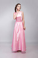 Платье женское вечернее длинное атласное 48, XS, розовый