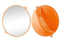 Зеркало ручное Ø28 см оранжевое