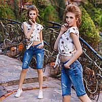 Модные женские джинсовые бриджи