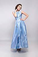 Платье женское вечернее длинное атласное 50, L, голубой