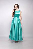 Платье женское вечернее длинное атласное 40, M, ментоловый