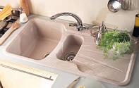 Кухонная гранитная мойка полуторачашевая с крылом LONGRAN PREMIUM KORONA 1.5 Sahara Beige (Granite), фото 1