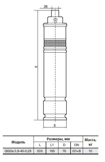 Скважинный бытовой насос Sprut QGDа0.8–40–0.28 размеры