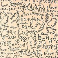 Трикотажное полотно интерлок хлопок пенье 40/1, печать буквы love France, Bonjour Paris, капучино