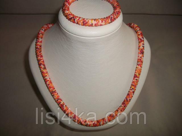 Вязаный комплект жгутов из микса бисера в оранжевых тонах