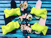 Шлепанцы женские с бантом 3D сетка разные цвета Uk0262