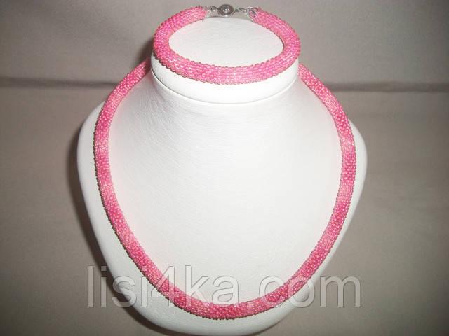 Однотонный вязаный комплект жгутов из бисера розового цвета