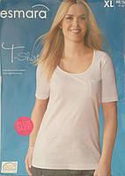 Летняя распродажа! Женская футболка Esmara (Plus Size). Большемерки L,XL. Белая, бирюзовая.