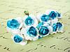 Декоративные бумажные цветочки, розы  10 шт. 2,5 см на ножке бело-голубого цвета