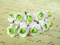 Декоративные бумажные цветочки, 10 шт., розы для скрапбукинга 2,5 см на ножке бело-салатовые, фото 1