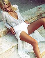 Белая кружевная Пляжная накидка в пол Длинная с кружевом