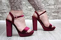Босоножки велюровые марсала бордо на высоком каблуке
