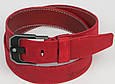 Мужской кожаный ремень под джинсы Skipper 3673 красный  ДхШ: 124х4,5 см., фото 2