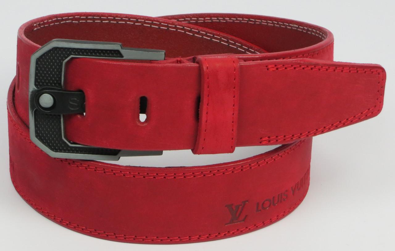 Мужской кожаный ремень под джинсы Skipper 3673 красный  ДхШ: 124х4,5 см.