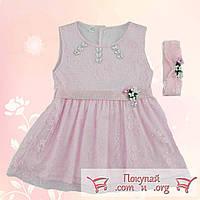 Розовое платье для малышей Размеры: 68-74 см (5329)