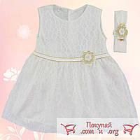 Белое нарядное платье с повязкой Размеры: 68-74 см (5330)