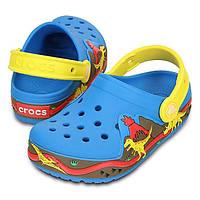 Кроксы для мальчика Динозавр мигают и светятся оригинал / Сабо Crocs Kids' CrocsLights Dinosaur Clog