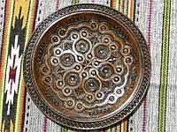 Тарілка дерев'яна ручної роботи різьблена та інхрустована міддю 32,5 см