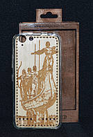"""Чехол-накладка Lenovo A6020 """"Памятник основателям Киева"""", деревянный на силиконовой основе"""
