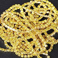 Cтразовая цепочка.металла-золото,стразы Сitrine ss12 (2,8mm).1м