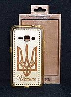 """Чехол-накладка Samsung J120 """"Тризуб"""", деревянный на силиконовой основе"""