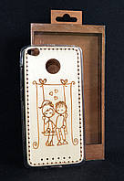 """Чехол-накаладка Xiaomi Redmi Note 3s/3 """"Love is..."""", деревянный на силиконовой основе"""