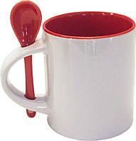 Кружка с ложкой в ручке Бордовый