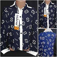 Нарядная школьная блузка для девочки, штапель, темно-синяя, Польша, рост 122, 128 см., 185