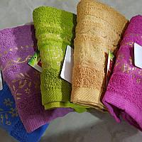 Банное махровое полотенце Маленькие цветы с фиолетовым  6 шт в уп. Размер 1.4х70 - 100% хлопок