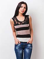 Женская летняя трикотажная майка с гипюром 90158