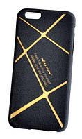 Противоударный качественный TPU чехол-накладка Nillkin для Iphone 6/6s (черно-золотой)