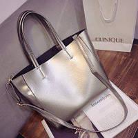 Большая женская сумка шопер серый металлик