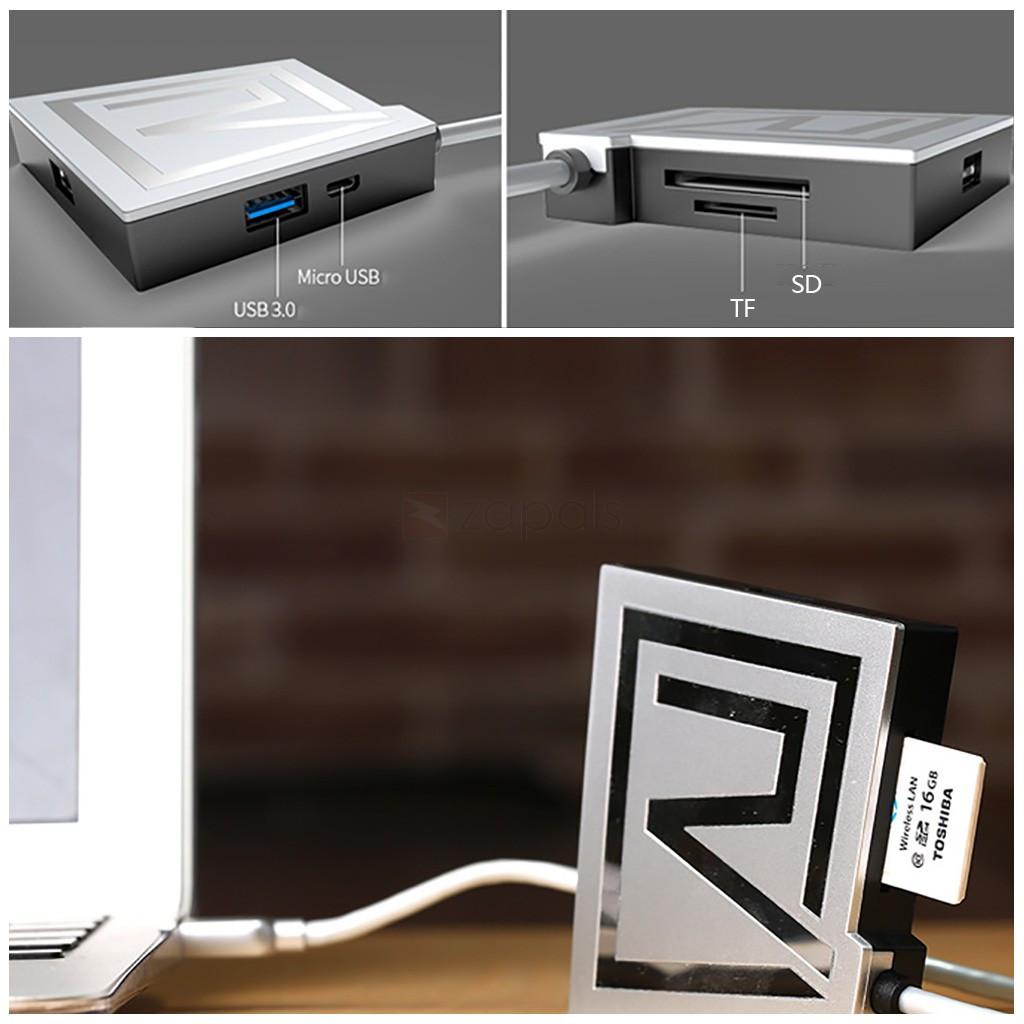 USB Hub Remax RU-U7 Rhyden CardReader 3*USB 3.0 gold