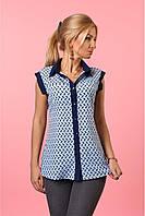 Женская летняя блуза-рубашка с отложным воротником