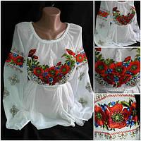"""Вышитая блузка """"Украинские маки с черникой"""" в белом цвете"""