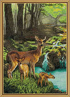 Наборы для вышивания нитками Олени у ручья РЕ 3338