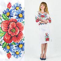 Вышитое женское платье Мальвы и васильки белого цвета