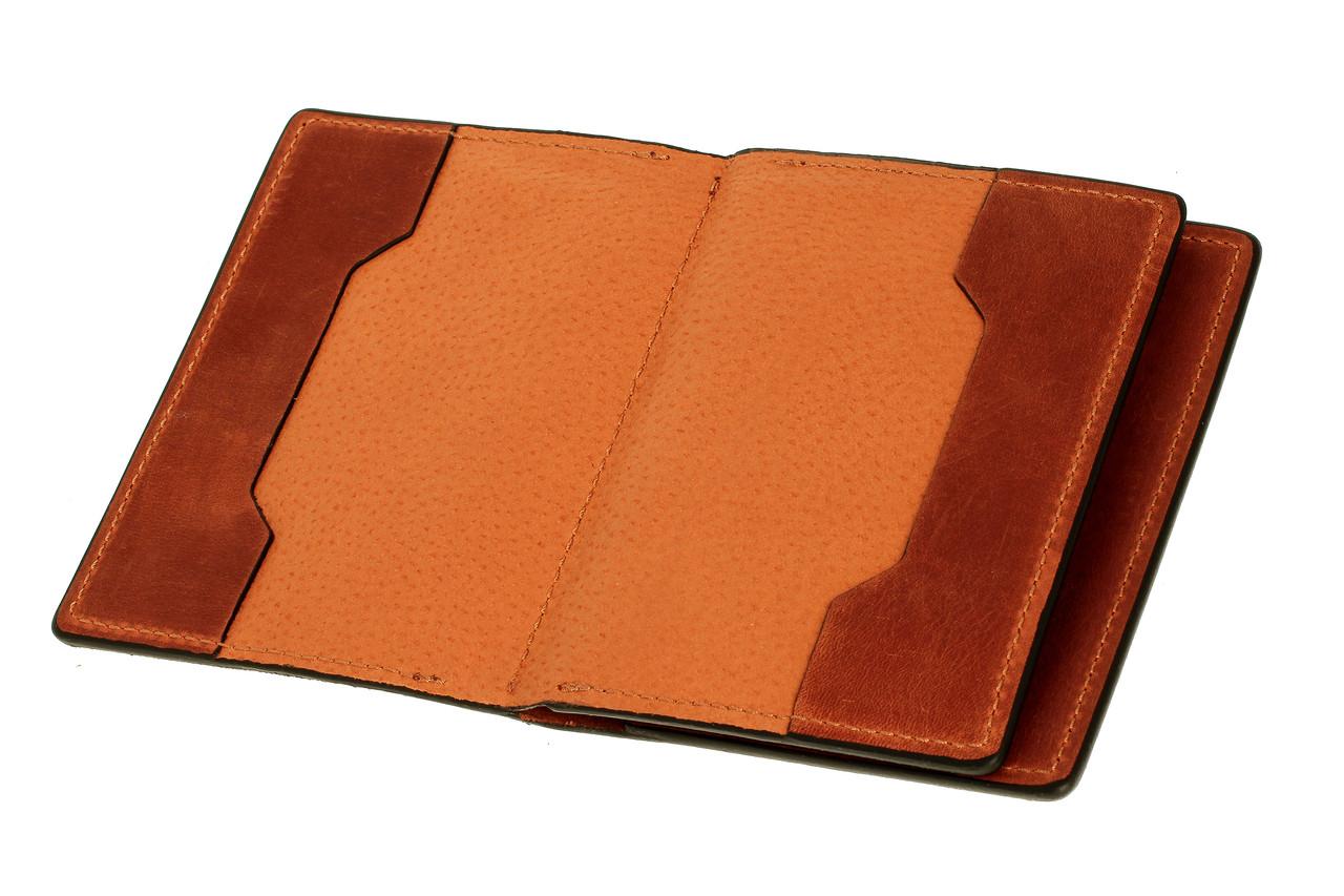 Обложка для документов, паспорта, автодокументов с отделом для карт, терракот (матовая)