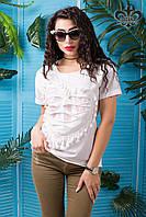 Женская белая футболка Дейнерис ТМ Luzana 42-50 размеры