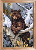 Схема для вышивания бисером Медведь на дереве