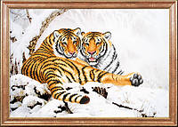 Схема для вышивания бисером Тигры зимой