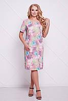 Классическое платье-футляр АДЕЛЬ розовое (54-60)