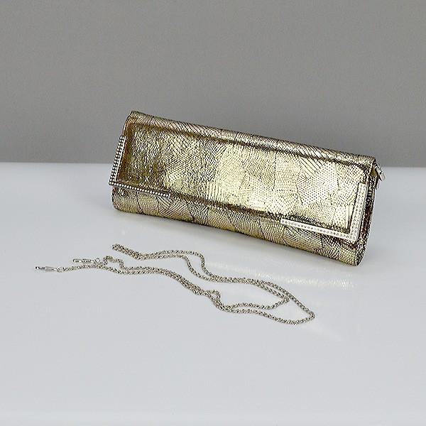 Клатч кожаный женский золотистый 50386