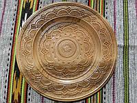 Тарілка дерев'яна ручної роботи різьбленна 36 см