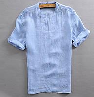 Льняная рубашка, футболка, сорочка, распашонка без ворота с коротким или длинным рукавом на выбор