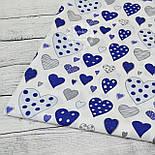 Ткань бязь с сердечками сине-серого цвета № 771а, фото 5